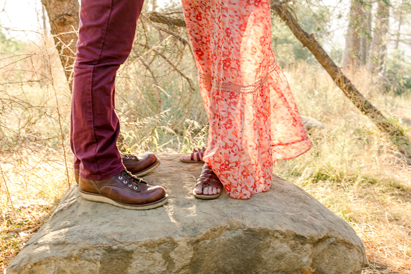 California hiking in the woods engagement photos