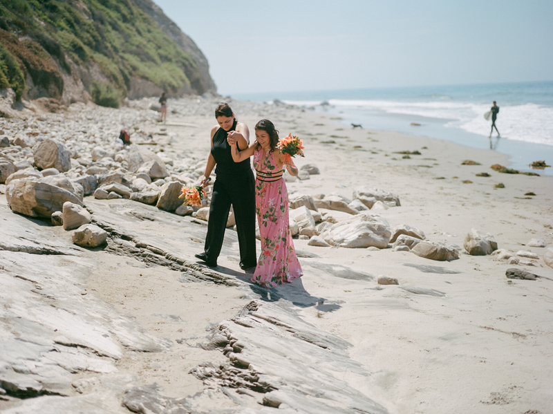 Romantic natural lesbian beach elopement in Santa Barbara