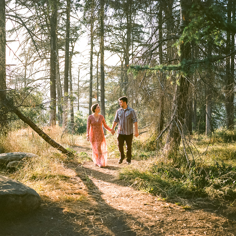 California outdoor elopement photographer - romantic natural woods session on film