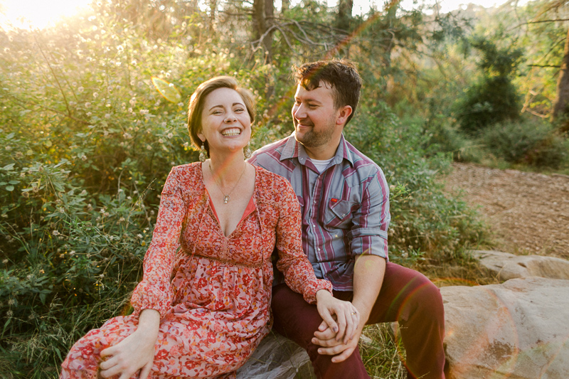 Sunset engagement photos in the forest