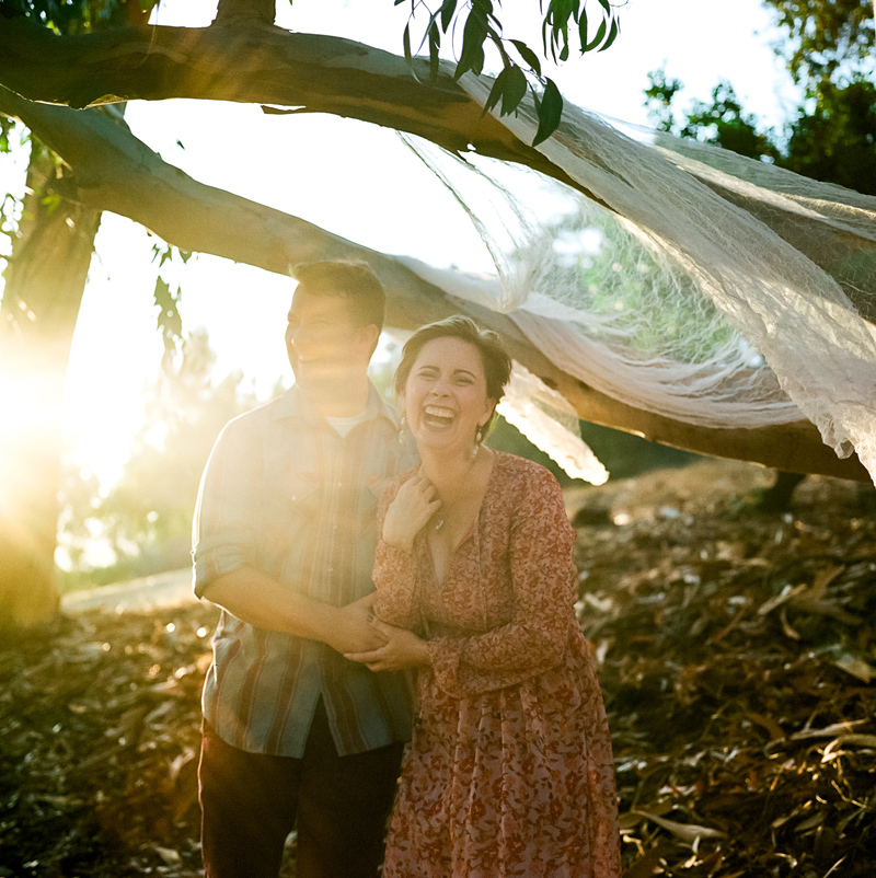 Fun natural outdoor engagement photos on film in Los Angeles
