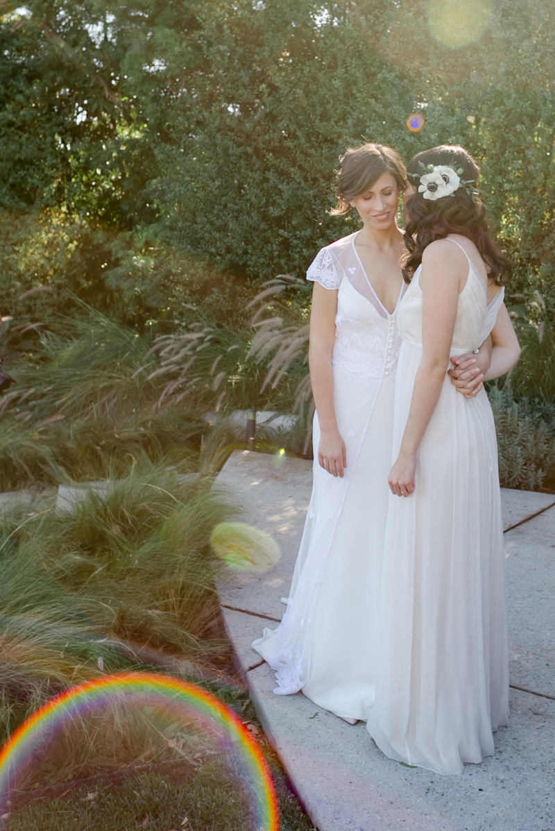 LA LGBTQ wedding photographer. Romantic first look with 2 brides