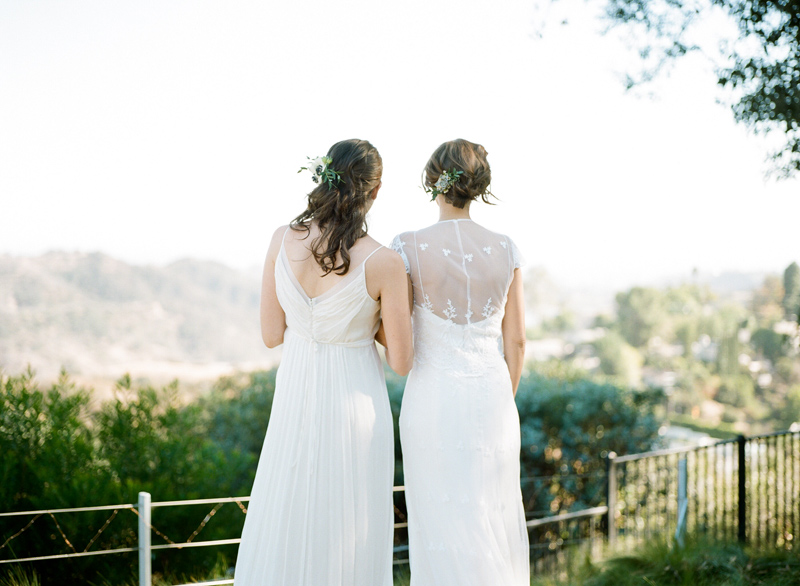 LA backyard elopement in the the Hollywood Hills with two brides