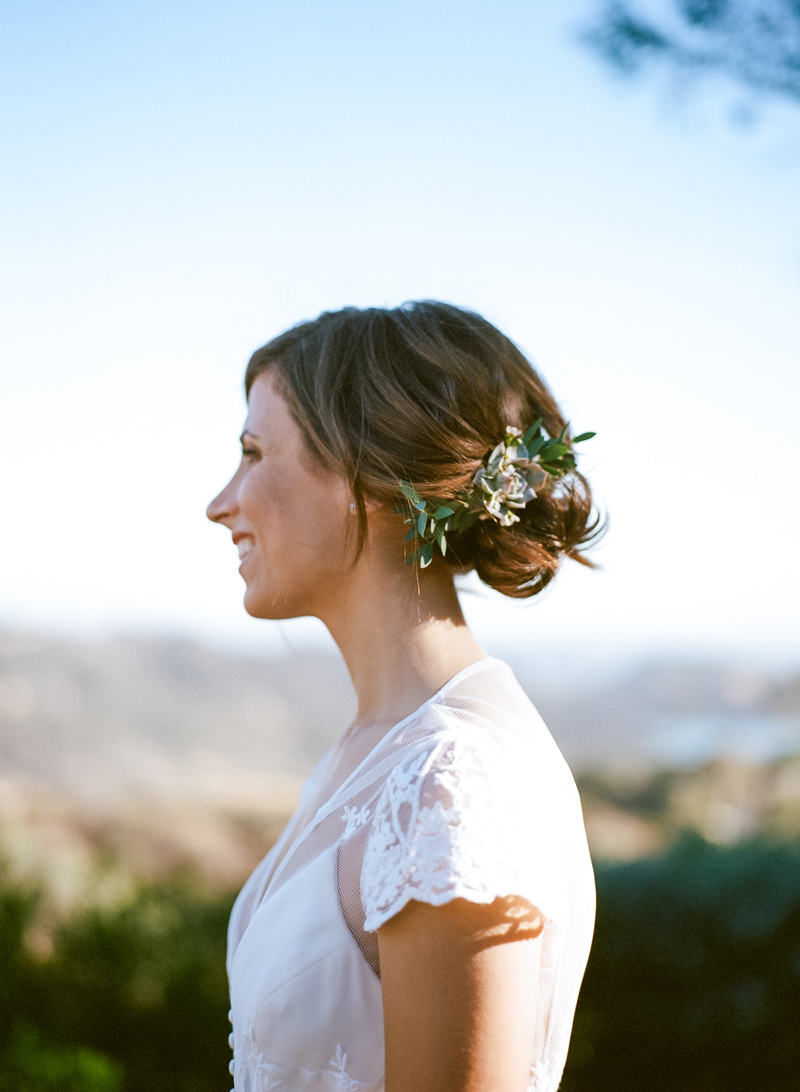 Romantic bridal portraits with succulent hair florals