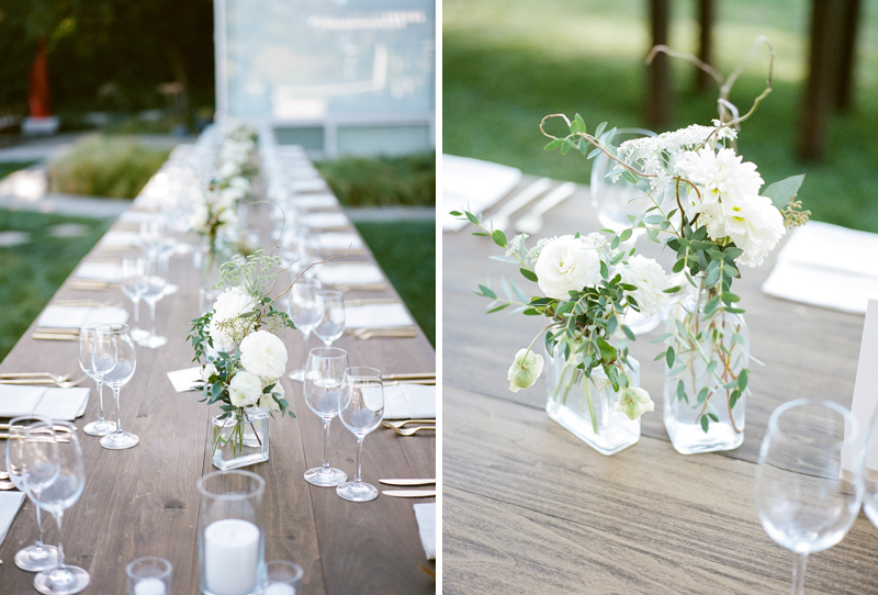 LA film photographer - romantic natural floral arrangements and farm tables at intimate Hollywood Hills home wedding