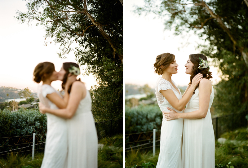 Romantic outdoor elopement for two brides by film photographer Jessica Schilling