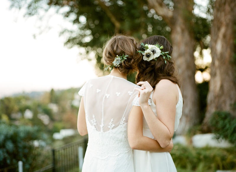 Romantic outdoor elopement with two brides. Los Angeles LGBTQ elopement photographer