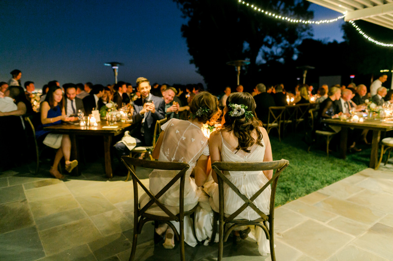 Romantic outdoor wedding reception for intimate Bel Air backyard wedding
