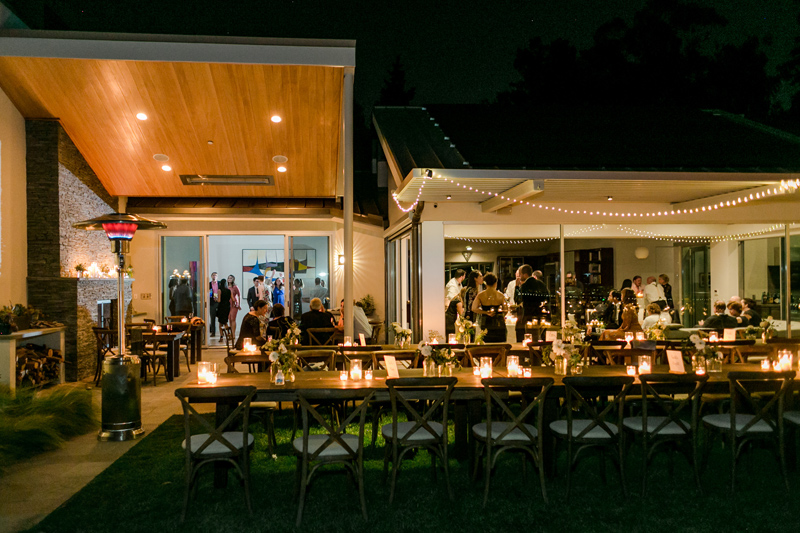 Private residence backyard wedding outdoor night reception