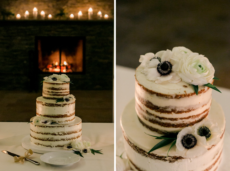 Romantic wedding cake in front of fireplace for at home fall wedding