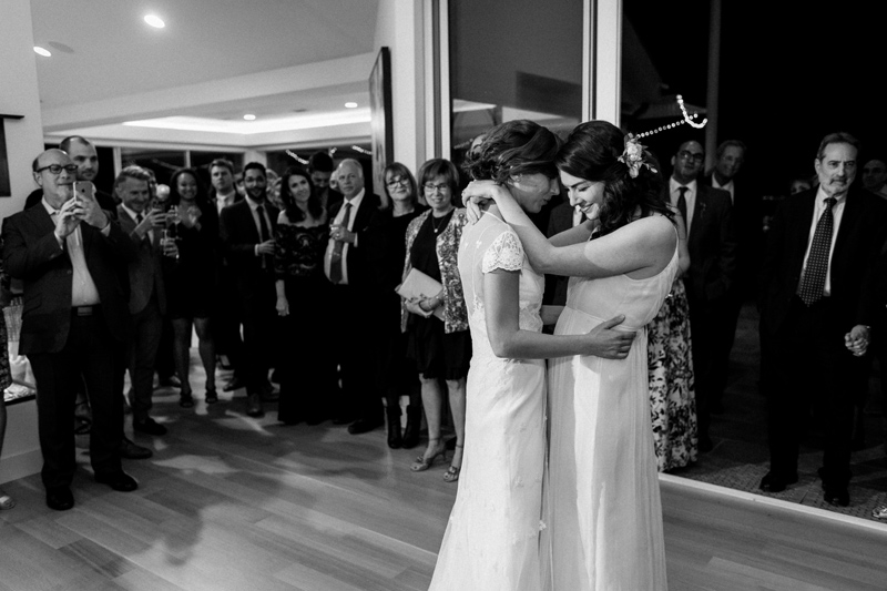 First dance in living room at intimate at home wedding