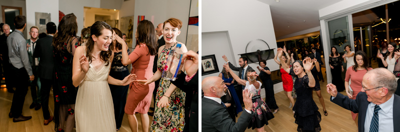 Living room dance party at intimate at-home wedding