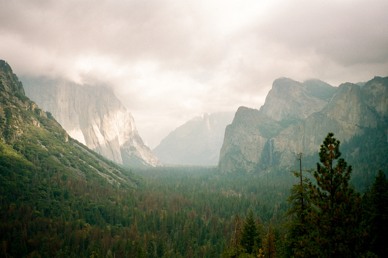 Yosemite National Park - Tunnel View on a misty day, 35mm film Fuji Klasse camera by California Travel photographer Jessica Schilling