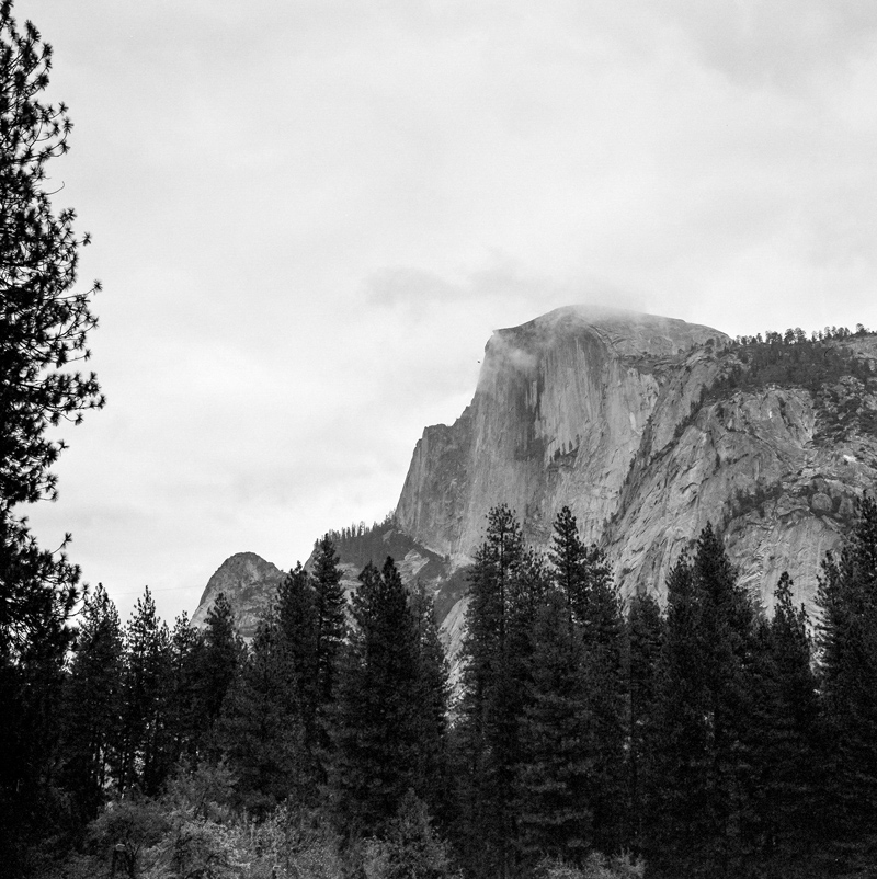 Yosemite Half Dome on a cloudy day with black and white film