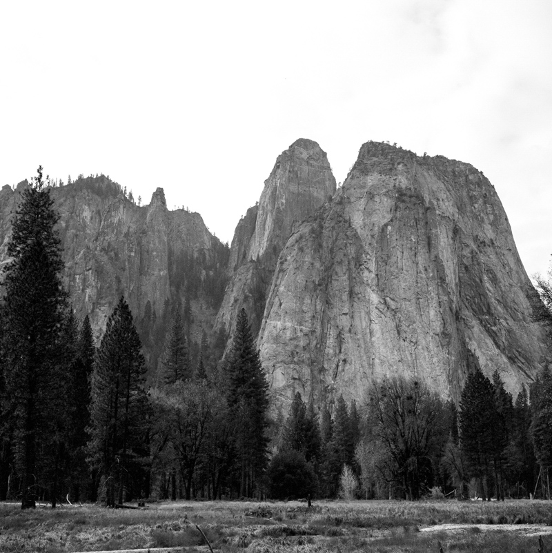 Cathedral Rocks at Yosemite National Park on black and white medium format film Kodak TX400