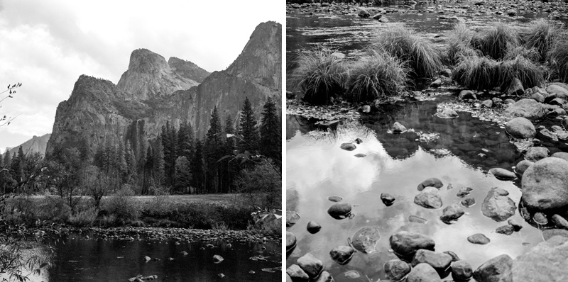 Black and white medium format film of Yosemite National Park