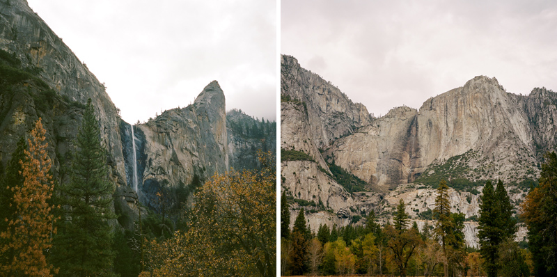 Waterfalls and mountains at Yosemite National Park. Mamiya 6 medium format film Portra 400