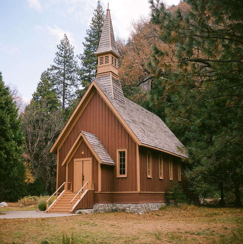 Yosemite Valley Chapel - rustic setting for California outdoor elopement by film photographer Jessica Schilling