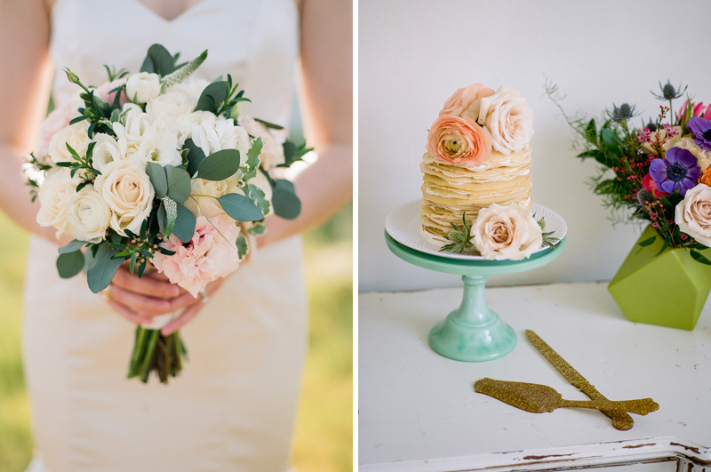 Eucalyptus bouquet and mini crepe cake. Elopement details captured on film by Jessica Schilling