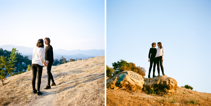 Outdoor engagement session at Elysian Park in Los Angeles, by film photographer Jessica Schilling