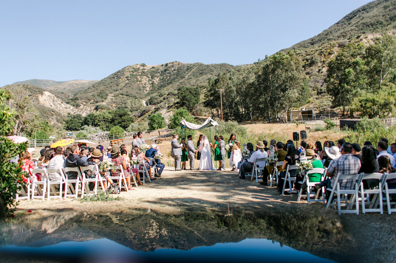 California outdoor wedding with views of the mountains and Angeles National Forest.