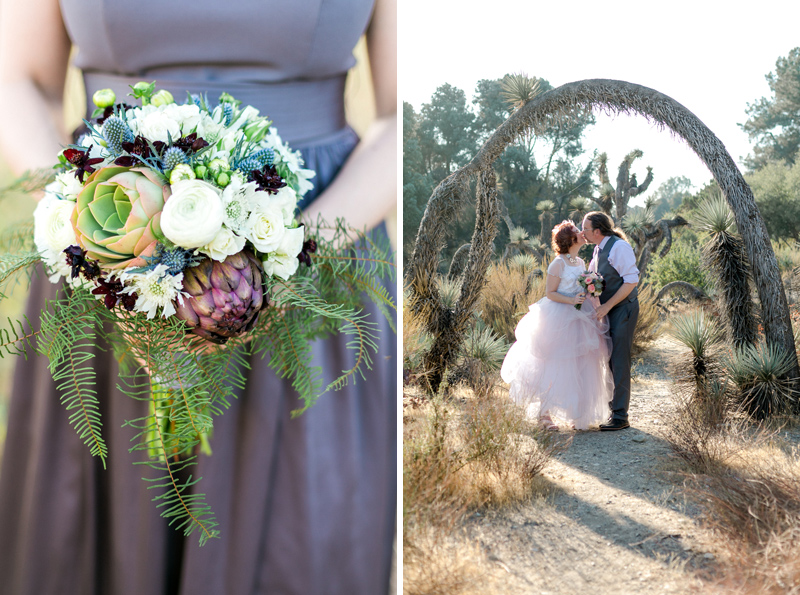 Joshua Tree elopement photographer Jessica Schilling and detail of organic bouquet with succulents and artichokes