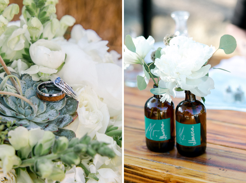 Floral, centerpieces, and wedding ring details from California outdoor intimate wedding.