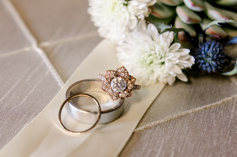 California elopement details. Vintage wedding ring.