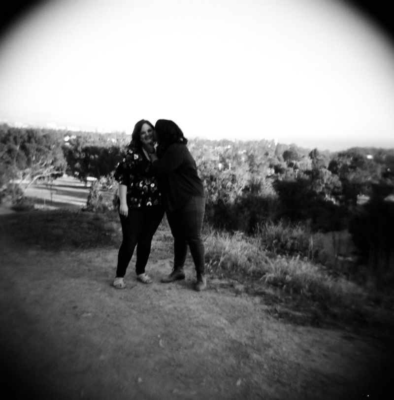 Toy camera engagement photography - holga and black and white film