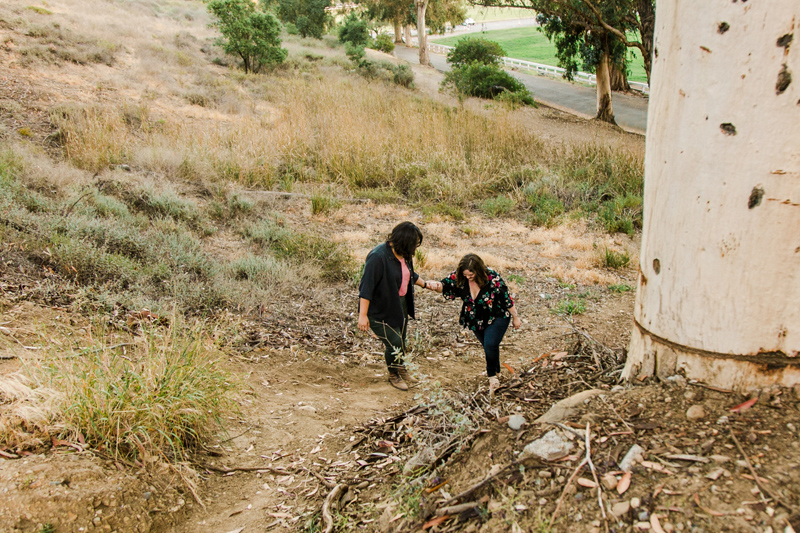 Hiking adventure engagement photos in Los Angeles