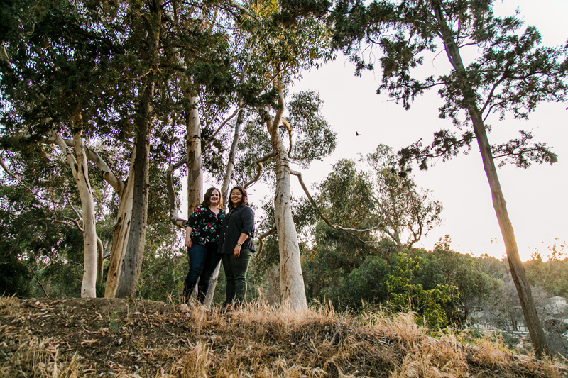 Romantic natural engagement photos with eucalyptus trees